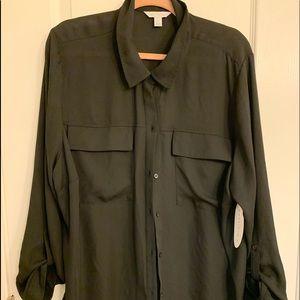 2x Sheer black dress shirt button up